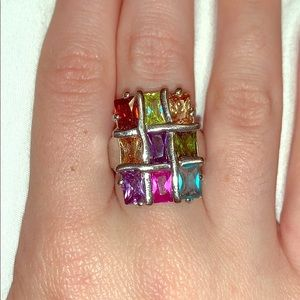 Rainbow Swarovski Gem Ring Size 7